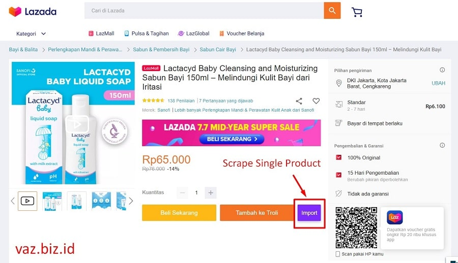 cara scrape lazada single 1 produk