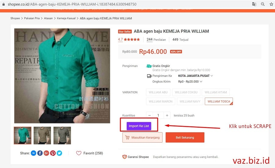 cara scrape shopee persingle produk